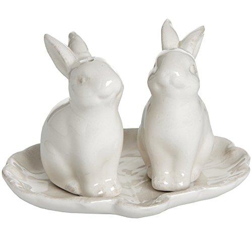 2Stück weiße Keramik Salz- und Pfefferstreuer Bunny Kaninchen