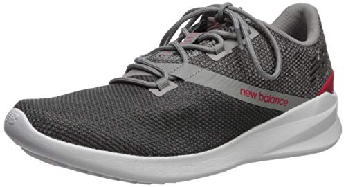 New Balance Men's Cush+ District Run V1 Shoe, Grey/Energy Red, 7 M US