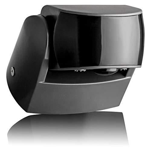 SEBSON® Detector de Movimiento Exterior IP65, Montaje Superficie en Pared, programable, 12m/180° y 3m/360°, LED Adecuado, Sensor de Infrarrojos con 2 Sensores