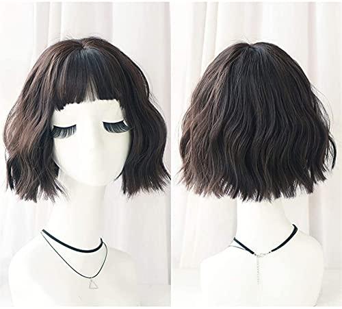 Pelucas de encaje corto rizado ondulado con flequillo de aire, color Lolita japonesa, degradado, fibra sintética resistente al calor, para niñas, 43 cm (color: gris pardo, edición: pelucas) chenghuax
