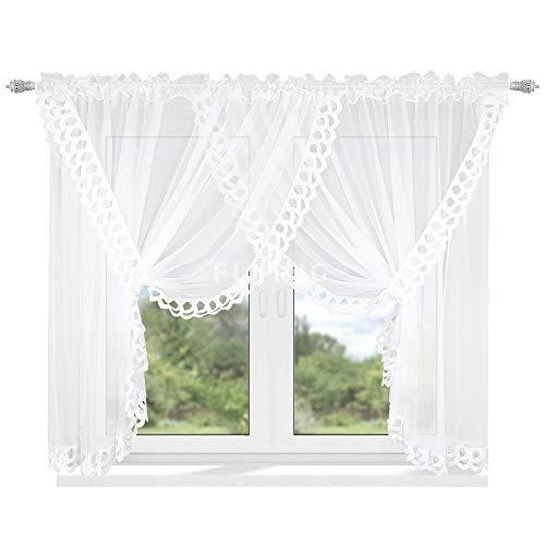 FKL Mooi kant-en-klaar gordijn raamgordijn van voile decoratief gordijn met gipure design kort wit plooiband LB-162