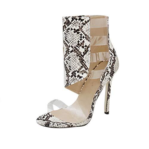 SHE.White Damen Transparent Stilettoabsatz Sandalen Sommer Hohl Stiefel Schlangenleder Offener Zeh Pumps Sommerschuhe Atmungsaktiv Sandaletten 35-40
