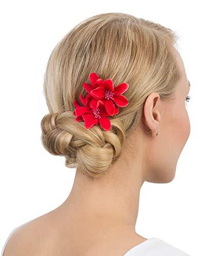 SIX Haarspange mit Lilie im 2er-Set [Damen Haarschmuck] - Haarclips » Haar Clips « Frauen Schmuck im Blumen Design - Haarklammer - Haarnadeln - Klammer - Haarspange - rot (488-702)