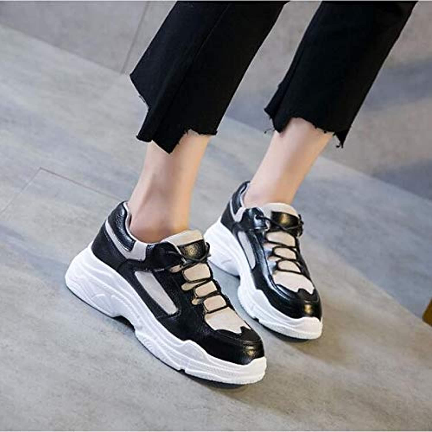 Women's Leather Spring Fall Comfort Sneakers Creepers White Black