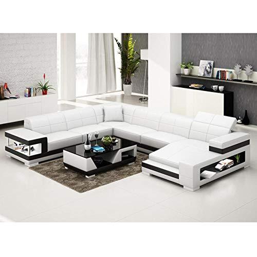 Winpavo Sofas & Sofas Sofa Corner Sofa Set Italienische Art Couch Wohnzimmer Leder Ecksofa-B.