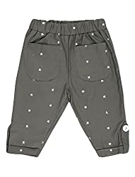 Lil Orchids Girls Woven Star Embroidery Olive Color Capri