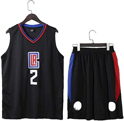 Baloncesto Jersey Kawhi Leonard # 2 Clippers Baloncesto Juego, Juego de Baloncesto Mangas de los Hombres Pone en Cortocircuito la Aptitud del Entrenamiento L-5XL (Color : Black, Size : XXXX-Large)