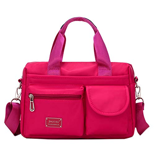 Women's Handbag Large Capacity Nylon Shoulder Bag Mommy Bag Versatile Casual Bag Shopping Bag(Size:30 * 13 * 20CM,Color:Rose red)
