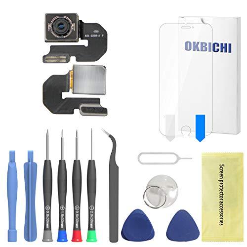 OKBICHI Cámara trasera para iPhone 6 Plus (todos los portadores) Módulo de cámara trasera Flex Cable Reemplazo - Herramientas de reparación con protector de pantalla