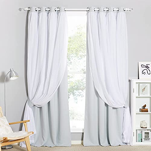 PONY DANCE Curtains Sheer Voile - Crushed Sheer x Room Darkening Thermal Drapes Curtain Light Shut Panels for Windows, 52 x 95 inches, Greyish White, Set of 2