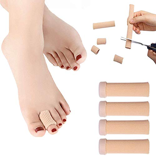 Toe Tubes Cuttable Elastic Fabric Lined with Silicone Gel Lined Protectors, Pain Relief Finger Bandages Calluses Remover, Elastic Bunions Cushion Pads, Hammer Toes Corns Blisters (S, 4 PCS)