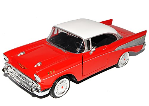 Motormax Chevrolet Chevy Bel Air 1957 Rot Coupe Oldtimer 1/24 Modellauto Modell Auto
