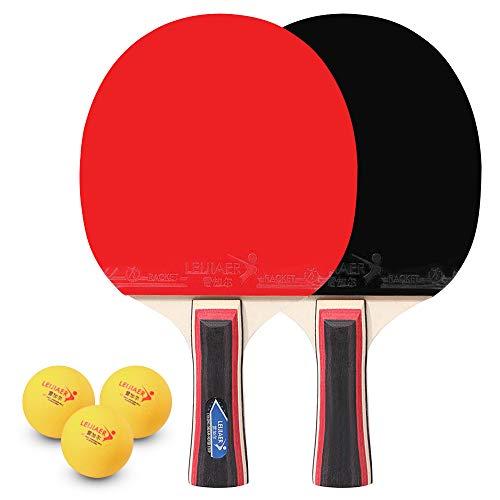 Lixada Tenis de Mesa Juego de 2 Jugadores 2 Raquetas de Palos de Tenis de Mesa y 3 Pelotas de Ping Pong con Funda