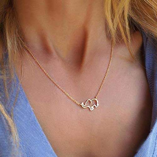 Simsly Fashion Elephant Pendant Necklace for Women or Girls Simple Necklace Gold or Silver Jewelry for Great Gift (Gold)