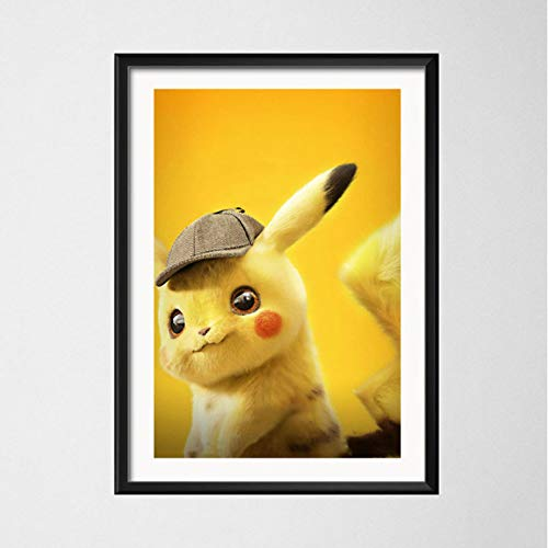 PCCASEWIND Frameless Painting 50X70Cm - Canvas Painting Pikachu Detective Team Movie Wall Art Painting Poster Home Decoration Picture Mural E-1826