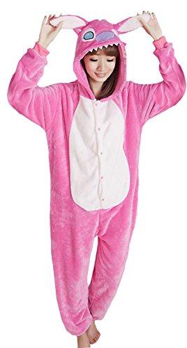 Y-BOA 1Pc Pyjama Combinaison Coton Femme Taille M Forme (Stitch Rose)