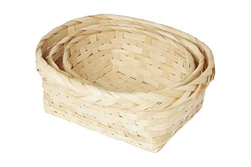 HEITMANN DECO Bambus-Körbe in verschiedenen Größen - Osterkorb, Osternest, Dekokorb, Aufbewahrung - Dekoration - 3er Set - Natur