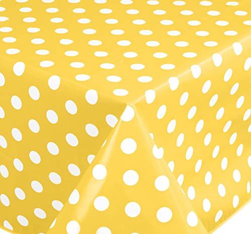 Wachstuch Tischdecke Abwaschbar Eckig 140 x 180 cm Punkte (Gelb)