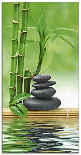 Artland Glasbilder Wandbild Glas Bild einteilig 30x60 cm Hochformat Asien Wellness Zen Spa Steine Bambus Entspannung Grün T5OP