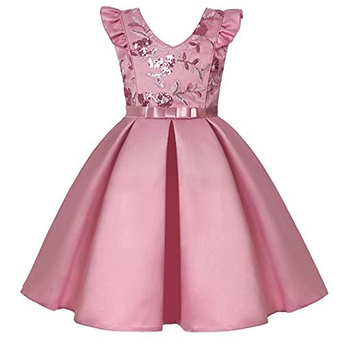 Alvivi Vestido Elegante de Fiesta para Niña Vestido Princesa Dulce de Dama de Honor Vestido Cóctel Cuello Halter de Boda Cumpleaños S Rosa 10-11 años