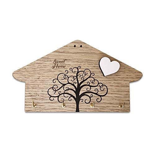 Portachiavi da parete in legno MDF, con testo inciso 'Sweet Home' e stampa albero della vita, con cuore bianco a rilievo, appendi chiavi da parete 4 ganci, color legno.Idea regalo (Legno 4 ganci)
