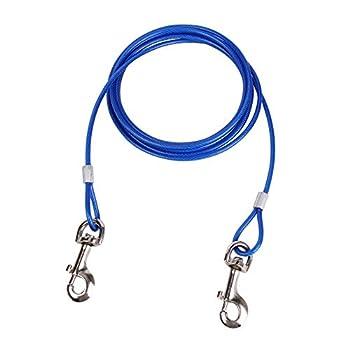 JTYR Câble d'attache pour Chien, 3 m | 5m | 10 m avec Piquet d'ancrage en Spirale, Accessoires de Camping pour Piquet de Terre en Spirale en métal pour Animaux de Compagnie,Bleu,16ft(5m)