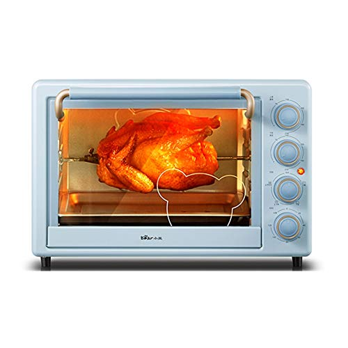 horno electrico de sobremesa Horno de escritorio doméstico Multifuncional Pequeño hornear automático 35L Capacidad Iluminación incorporada Control de temperatura independiente arriba y abajo Pase Pizz