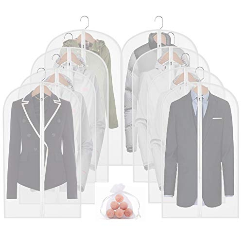 Moth Proof Garment Bags 8packs 40in Clear Hanging Lightweight Breathable Suit Dust Covers with Study Full Zipper and Cedar Balls for Storage Clothes
