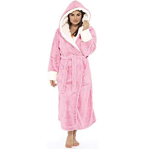 Eaylis Frauen Plüsch verlängerter Schal Bademantel Kleidung zu Hause Langärmliger Robenmantel Nachtwäsche