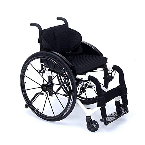 qazxsw Wheelchair Manual Wheelchairs Self Propelled Transit Travel Motion, Sturdy Durable Aluminum Alloy Light Collapsible with Anti-Overturn Design Manual Senior/Disabled Scooter