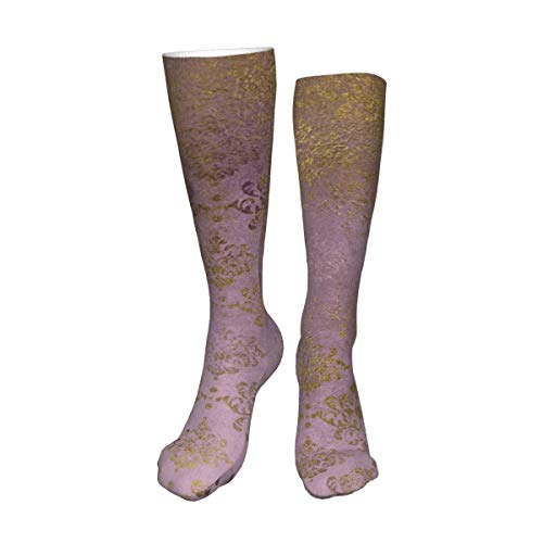 Calcetines unisex de muslo alto, vintage, color lila y dorado damasco, floral, morado, calcetines largos para botas altas, calentadores de pierna alta, calcetines deportivos