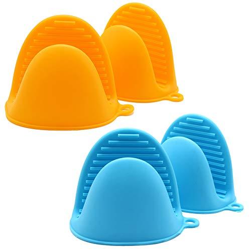 Ceqiny 2 Pares de Asas de Silicona para ollas agarraderas agarres para cocinar, agarres para Wok, Utensilios de Cocina Mango de Silicona para ollas de Hierro Fundido sartenes planchas, Azul y