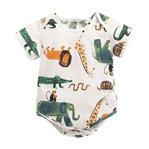 Ucoolcc Kinder Baby Schlafanzug Neugeborenes Junge Mädchen Tierdruck Kurzarm Body Strampler Reizender Babykleidung 0-3 Jahre
