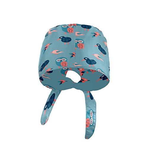 Cappelli da lavoro a forma di zucca con fascia tergisudore regolabile cappello da lavoro con bottone Lovely Owl & KiwiBird-01 Unisex copertura testa