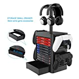 For PS5 Games Storage Tower(Up to 10 Games), Game Disk Rack and Controller/Headset Stand Holder ,Compatible with Ps5 / PS4 / Xbox x series / Xboxone / switch.