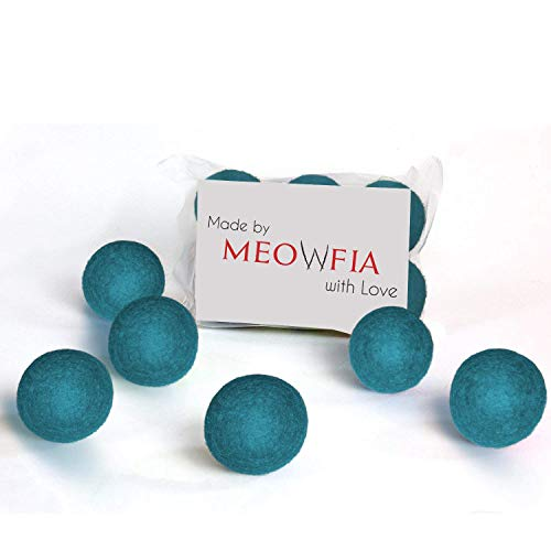 MEOWFIA Wool Ball Toys - 6-Pack of Safe for Cats and Small Dogs Balls - 1.5 Inch...