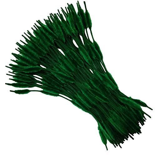 Carykon - Confezione da 100 steli in ciniglia sfocati per lavori fai da te (verde nerastro)