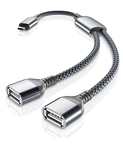 USB-C OTG Splitter Y Cable 1M,1 Tipo C Macho a 2 USB Hembra Convertidor,Adaptador Dividido Concentrador Extensor Puerto USB Doble para MacBook Pro,iPad Air 4,Samsung Galaxy S21 S20 Fe Ultra Note 10