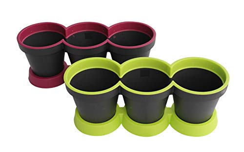 3 in 1 Kruidpot Bloempot Plastic Voor Vensterbank/Kkeuken 40 cm Tweekleurig Muntgroen + Paars