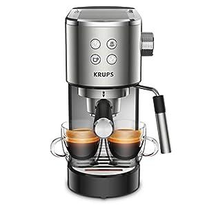 Krups Virtuoso XP442C cafetera espresso, diseño compacto y elegante, capacidad 1.1 L, espresso, cappuccino, sistema Thermoblock, calentamiento rápido, cuchara dosificadora, bandeja calientatazas