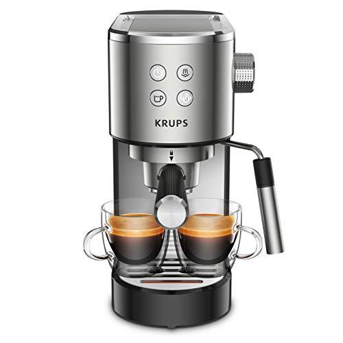 Krups XP442C11 - Macchina per espresso Virtuoso in acciaio inox, automatica, compatta, 2 tazze, ugello a vapore per cappuccino e acqua calda