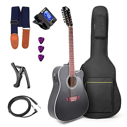 Vangoa 12 Strings Guitar Acoustic Electric Cutaway, Black 41 Inch, 4-Band EQ with Beginner Kit
