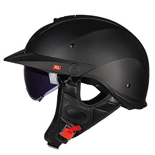 SXC Motorradhelm, Halbschalenhelm, ECE/DOT-Zulassung, Halbhelm Mit UV-Visier, Vintage Jet-Helm, Motorrad-Helm Roller-Helm Scooter-Helm Mofa-Helm Chopper