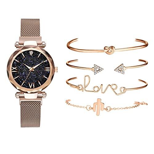 Petrichori Relojes con Esfera de Cielo Estrellado de Oro Rosa Reloj de Pulsera de Cuarzo con Pulsera de Cristal para Mujer con Cuatro Pulseras - Correa de Oro Rosa 33X33Mm