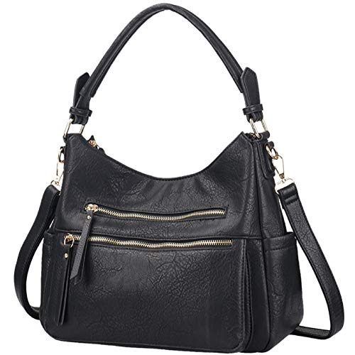 Handbags for Women JOYSON Crossbody Bags PU Leather Hobo Shoulder Bag Multi-pocket Top-Handle Purse Black