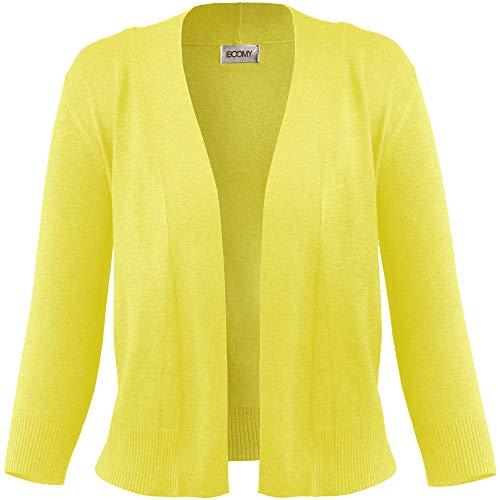FASHION BOOMY Women's Open Front Cropped Cardigan - 3/4 Sleeve Soft Knit Sweater - Classic Bolero Jacket Medium Lime