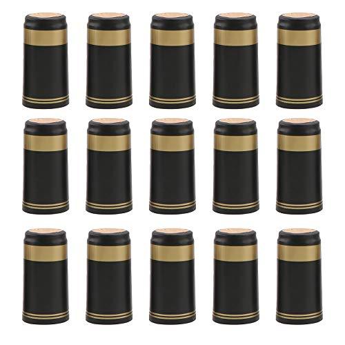 DOITOOL 100 Stück PVC-Schrumpfkapseln, Weinflaschen-Kapseln, Schrumpffolie für Weinkeller und zu Hause (schwarzes, goldenes EDG)