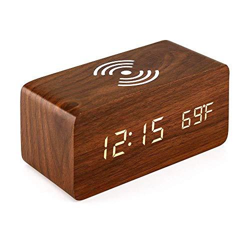 EUPEFIST Altavoz Bluetooth con Radio Despertador, Reloj Despertador 10W Cargador Inalámbrico con Humedad 3 Modos De Trabajo De Atenuación para Varios Teléfonos Inteligentes
