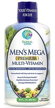 Men s Mega Premium Liquid Multivitamin w/CoQ10 Paba + 100 Additional Vitamins Minerals Amino Acids to Support Muscle Heart & Brain Functions* Max Absorption! - 32 Serv 32oz