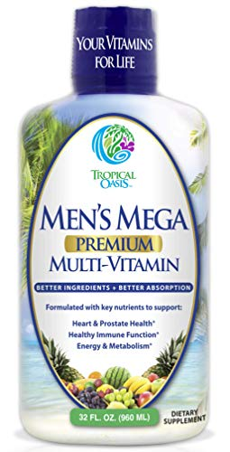 Men'S Mega Premium Liquid Multivitamin W/Coq10, Paba + 100 Additional Vitamins, Minerals, Amino Acids To Support Muscle, Heart &Amp; Brain Functions* Max Absorption! - 32 Serv, 32Oz